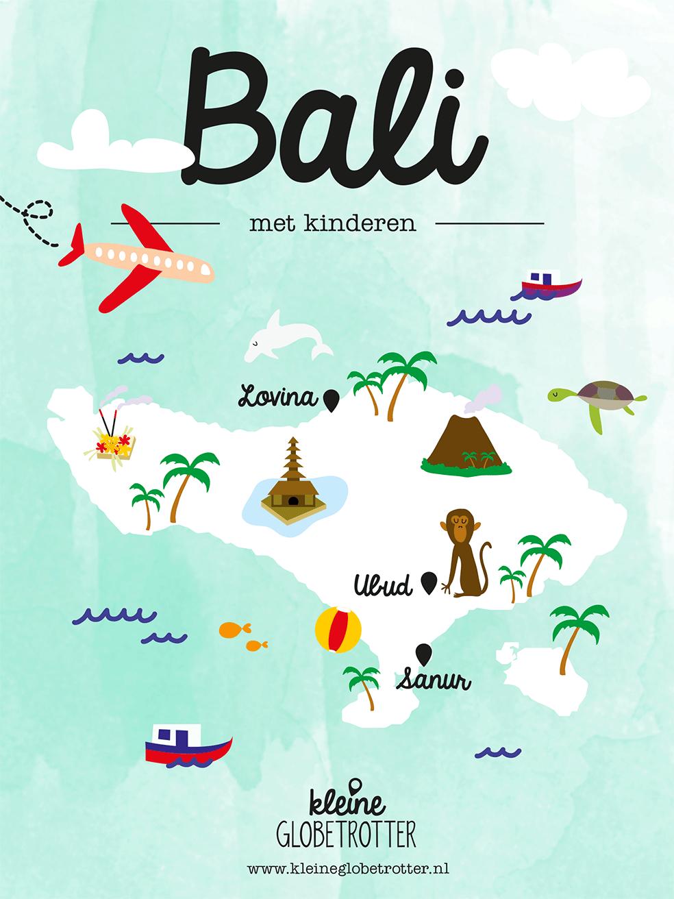 Bali met kinderen landkaart