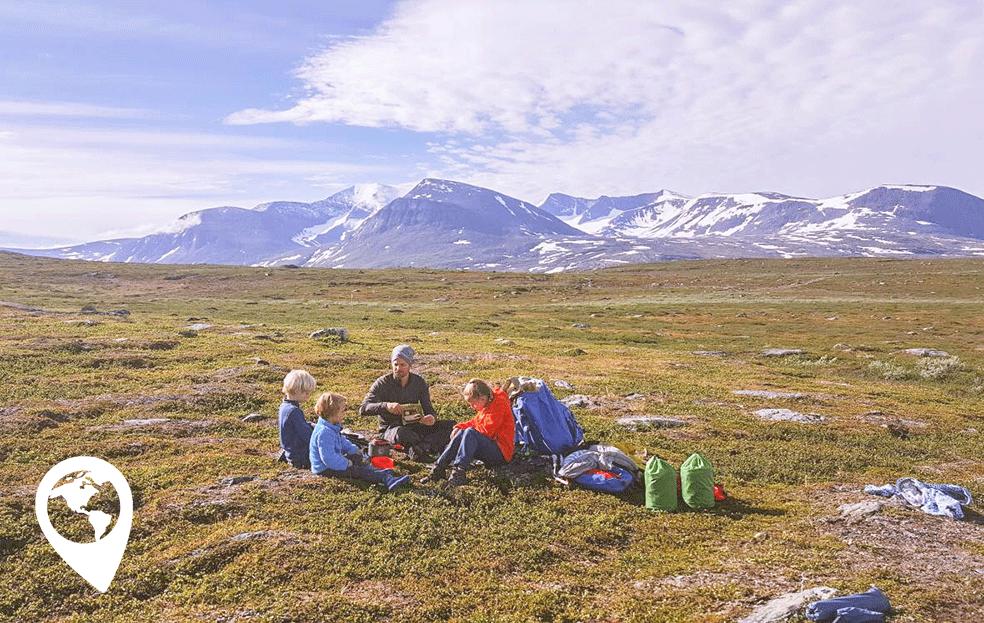 Wildkamperen met kinderen zweedse bergen