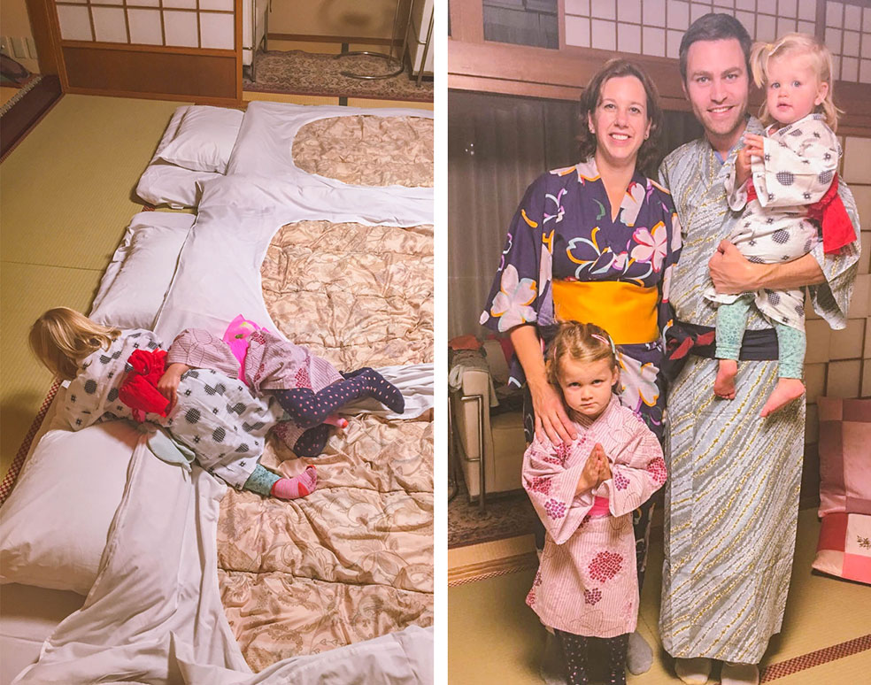 Rondreis Japan met kinderen - slapen in een Ryokan