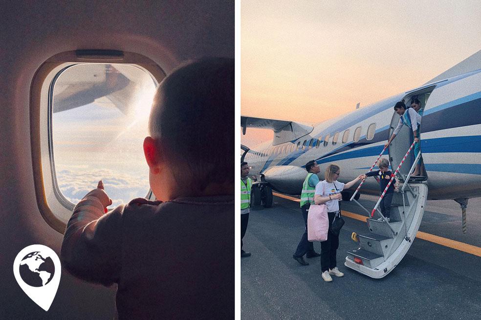 koh chang met kinderen - trat vliegtuig