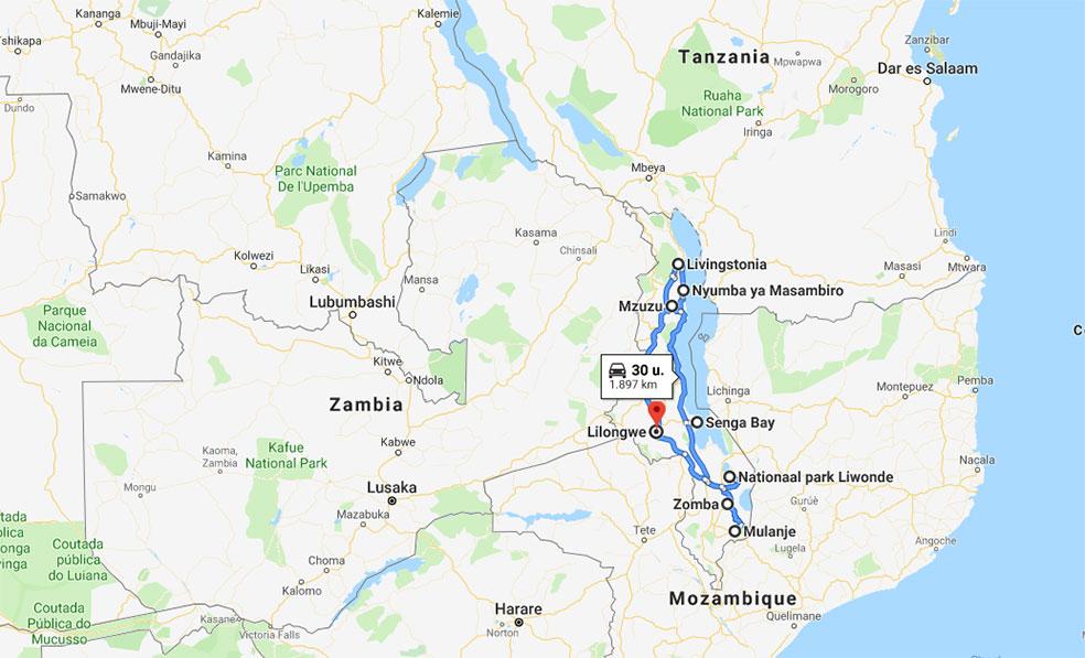 route rondreis Malawi