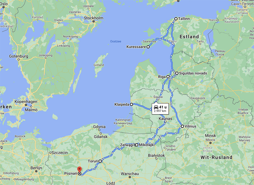 Rondreis Polen en Baltische Staten - route